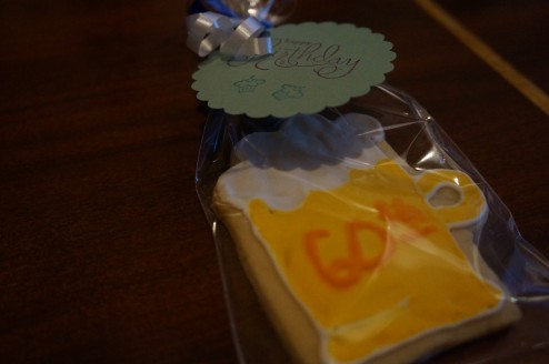 60th Birthday Beer Cookie favors (made by my talented cousin, Kristi)